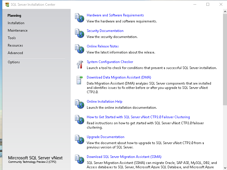 SQL Server Installation Center and its options