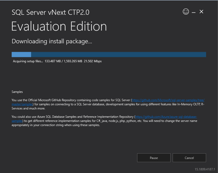SQL Server vNext CTP2.0 installation media download and messages