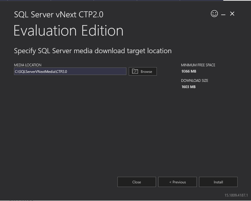 SQL Server vNext CTP2.0 installation media location