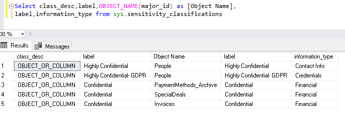 view information using sys.sensitivity_classifications