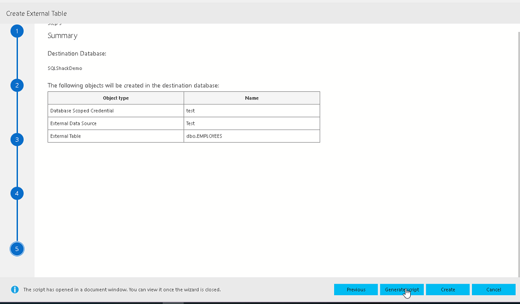 View Summary and generate script in Azure Data Studio External table wizard
