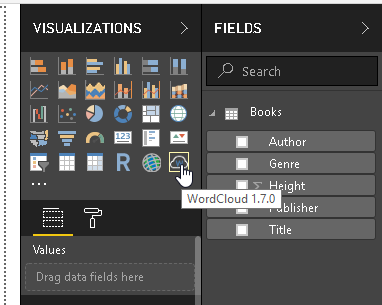 Word Cloud icon in Visualization section of Power BI Desktop