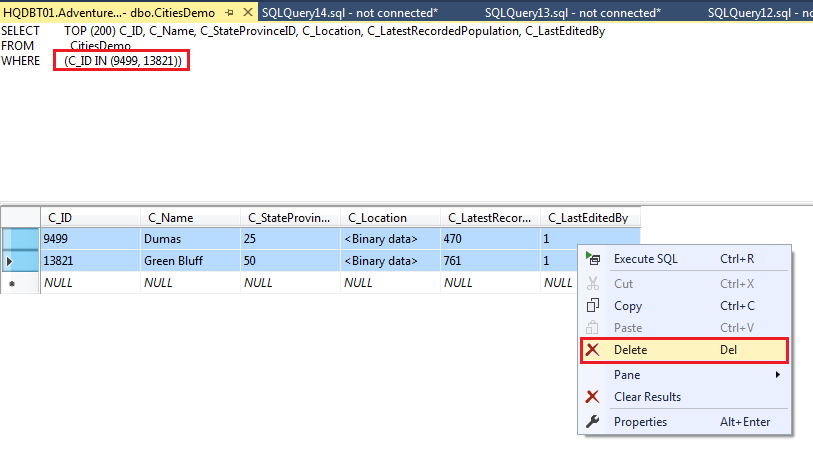 SQL delete - Select the rows and right-click the rows and choose Delete to remove the rows from the table.