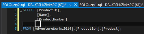 SSMS indenting options - block