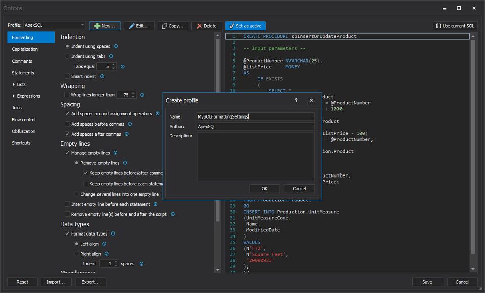 Create a custom SQL formatter profile