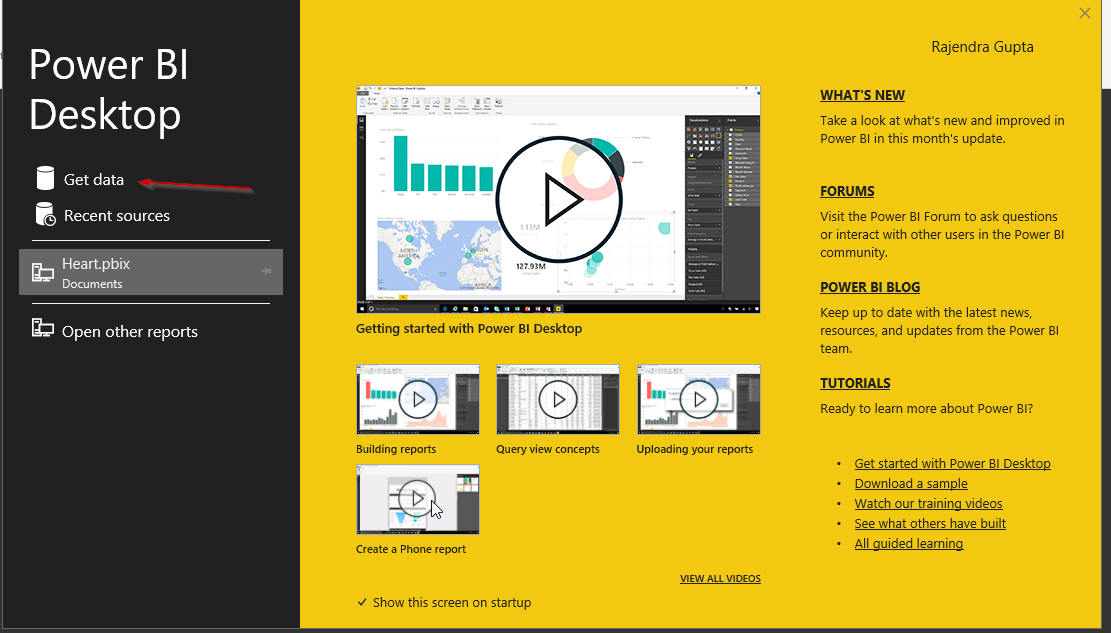 PowerBI launch Screen and GetData and view recent source