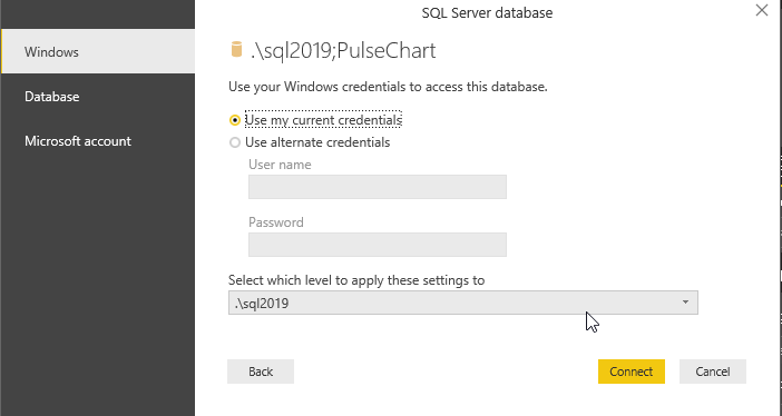 Select windows or SQL authentication in the data source