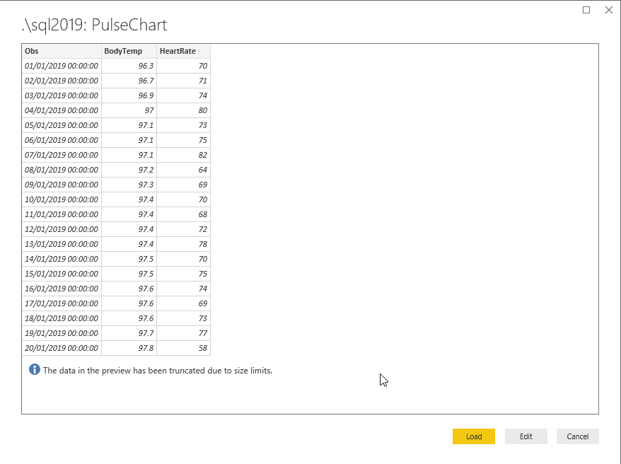 Preview sample data in PowerBI and edit if required