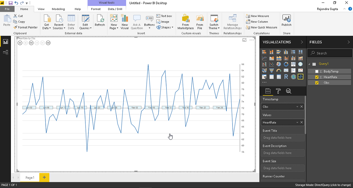 Create Pulse chart from the desired data set fields.