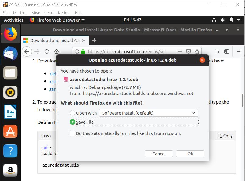SQL Server 2019 on Linux with Ubuntu and Azure Data Studio