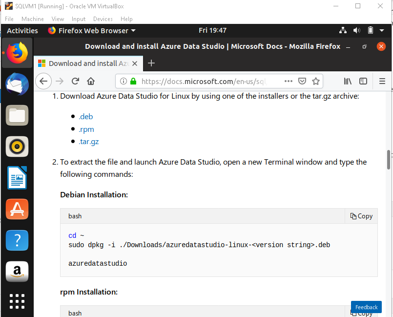 SQL Server 2019 on Linux with Ubuntu and Azure Data Studio