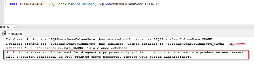 Clone database for DB having  Columnstore index SQL Server