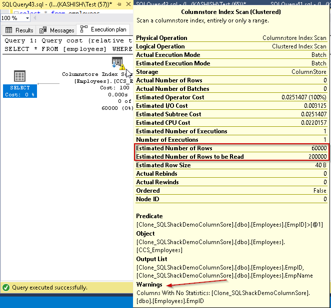 Execution plan Columnstore index SQL Server