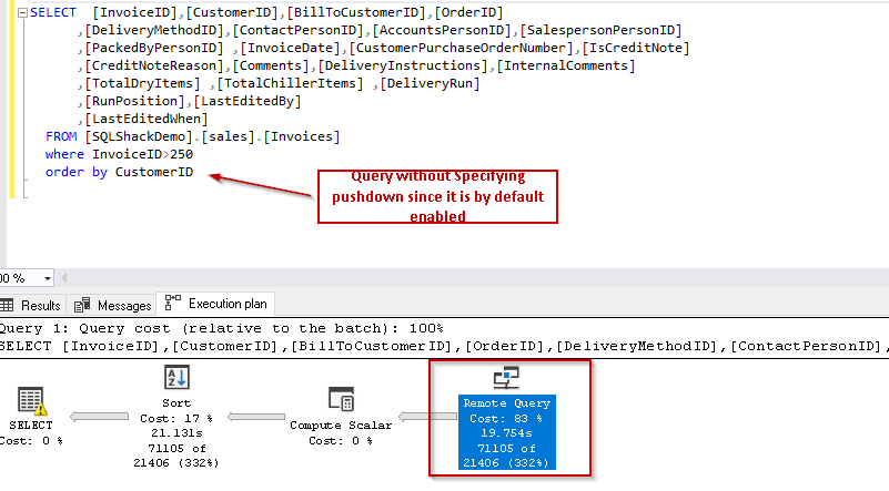 Polybase -Execute query with predicate and enabling Pushdown SQL Server 2019