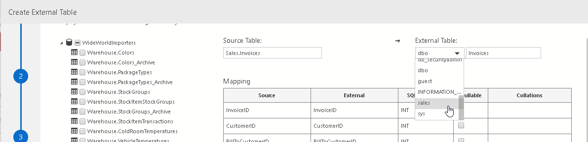 PolyBase Select the schema in drop down  SQL 2019
