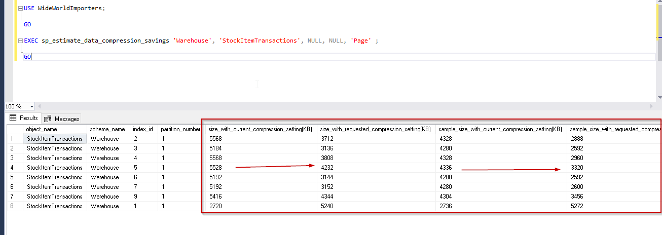 sp_estimate_data_compression_savings  with Page option