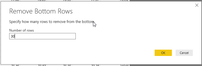 specify number of rows to remove from bottom