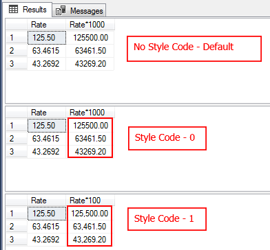 Style code in the calculation using SQL CONVERT