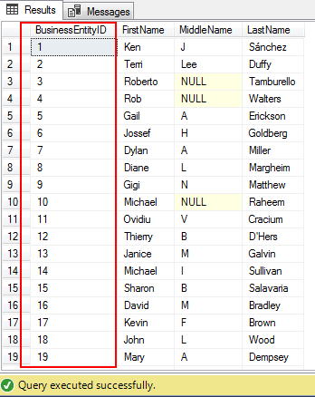 SQL query results ordered by a particular column