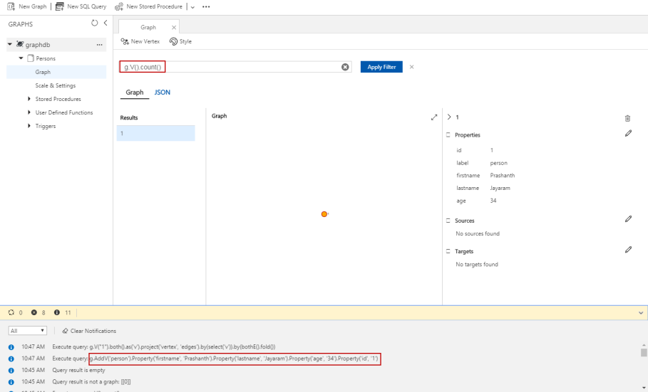Graph database implementation with Azure Cosmos DB using the API