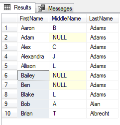 Query results using ORDER BY with UNION, EXCEPT, and INTERSECT operators