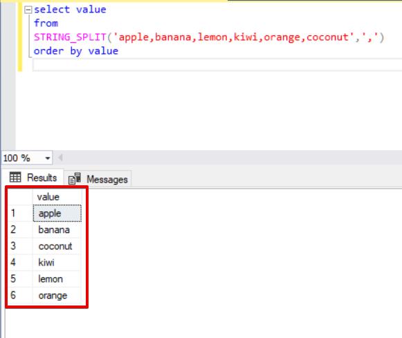 The STRING_SPLIT function in SQL Server