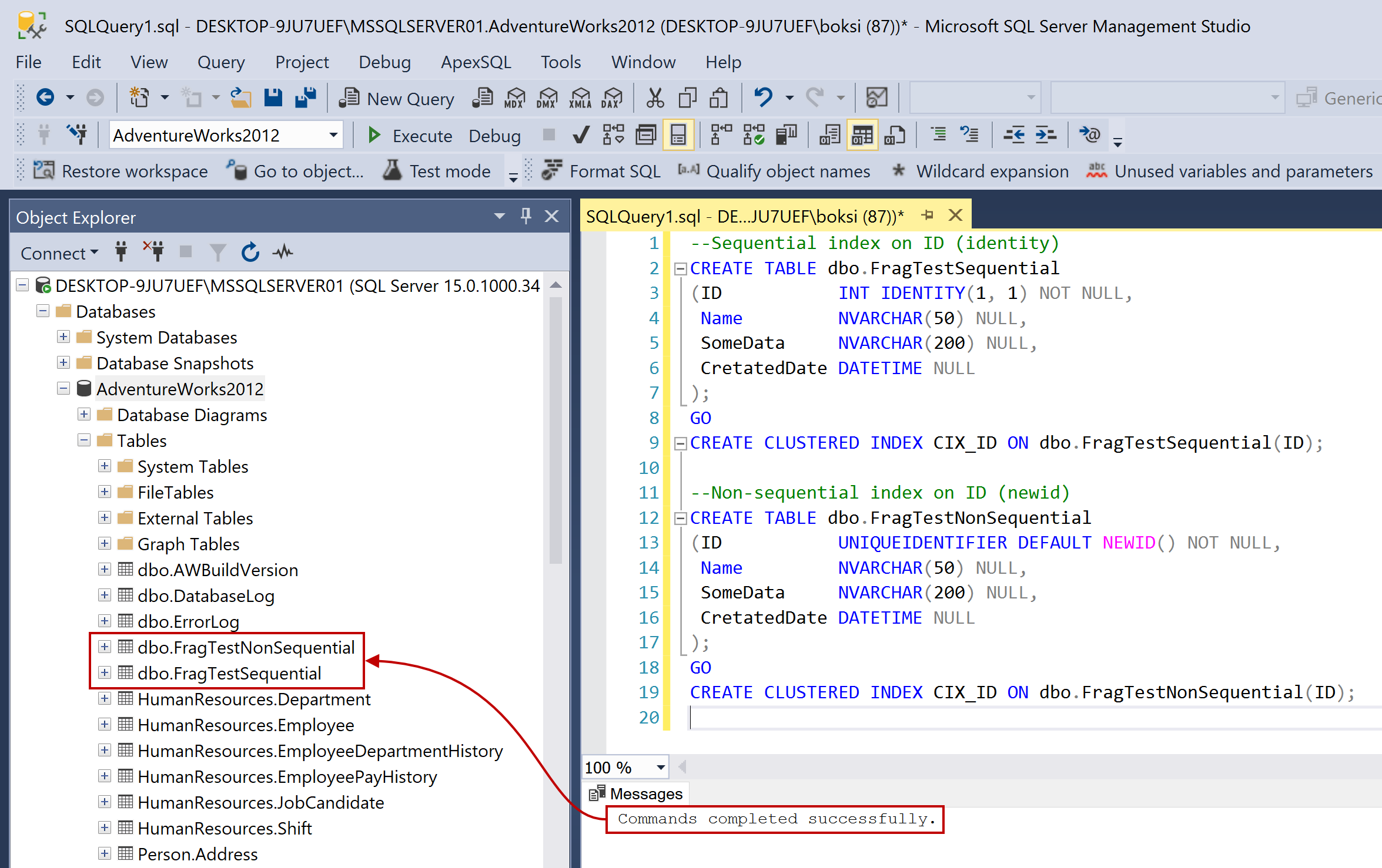 A successfully executed script in SSMS for creating two new tables
