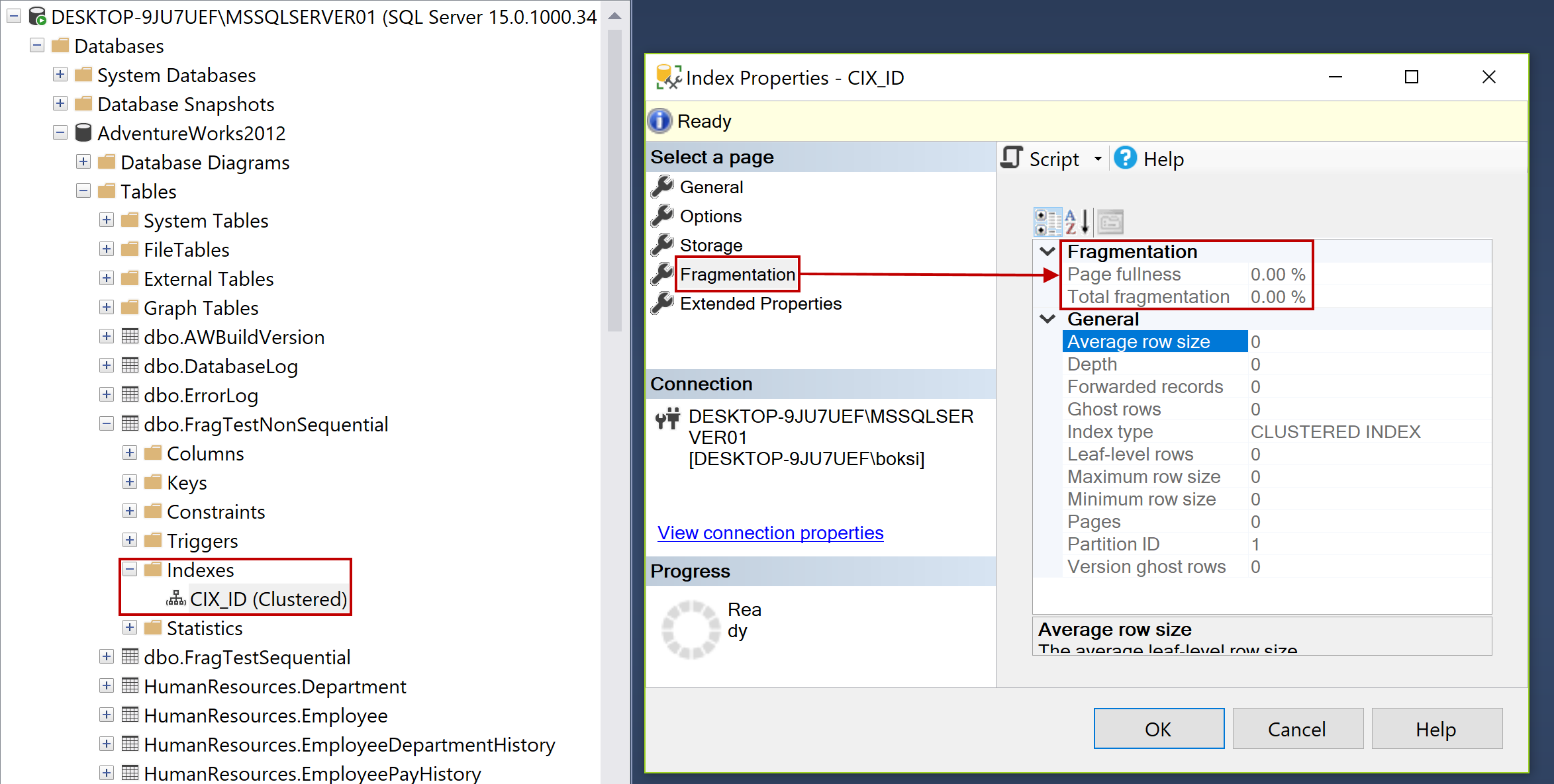 Index properties dialog in SSMS showing Fragmentation percentage of a table