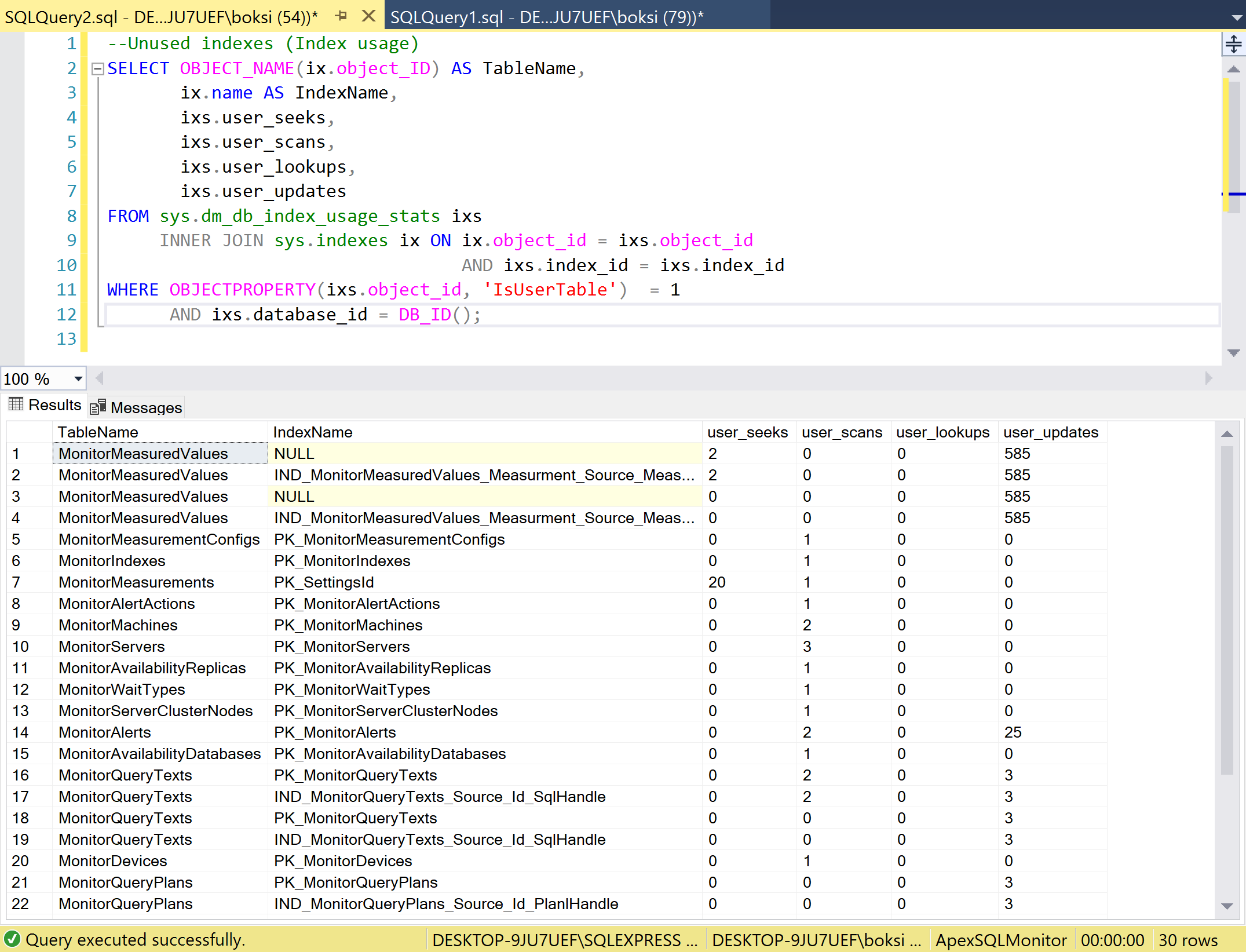A successfully executed script in SSMS showing SQL indexes that are not being used