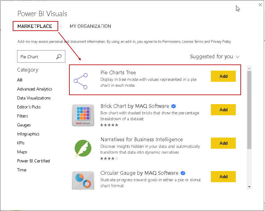 Add visuals from the Power BI Visuals market place