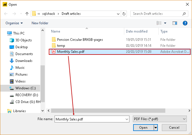 Opening the PDF to import with PowerBI