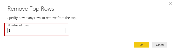 Removing top rows from a PDF import with PowerBI