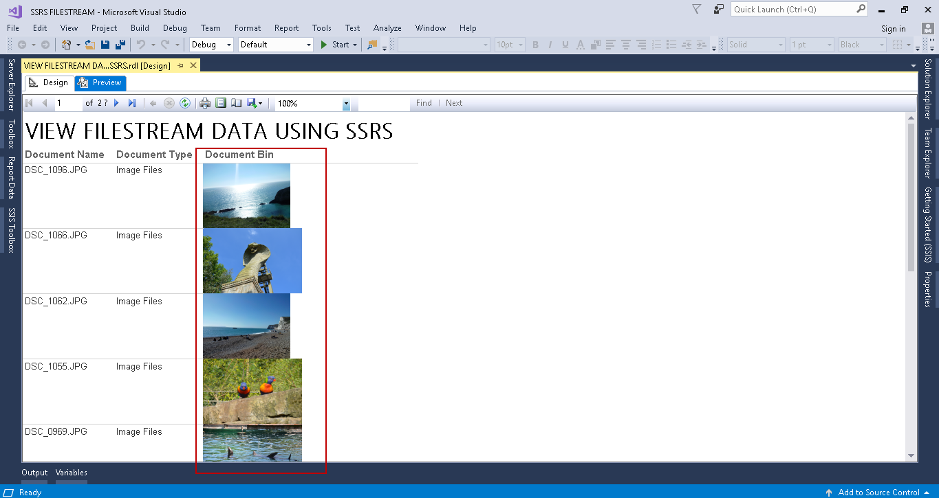 Viewing SQL Server FILESTREAM data with SSRS