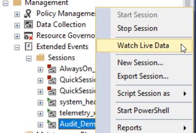 Creating a SQL Server audit using SQL Server Extended Events