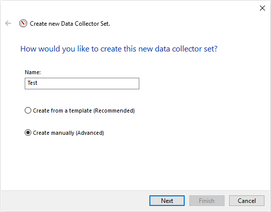 SQL Server monitoring tools interface to create a new Data collector set
