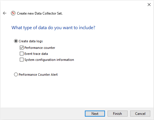 SQL Server monitoring tools interface to create a new Data collector set and specify data logs