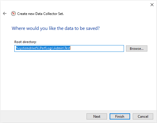 Using SQL Server monitoring tools to specifiy output location of saved performance data