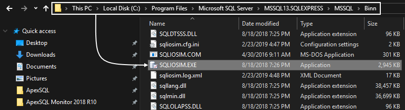 Locating SQL Server monitoring tools exe to open SQLIOSIM.exe