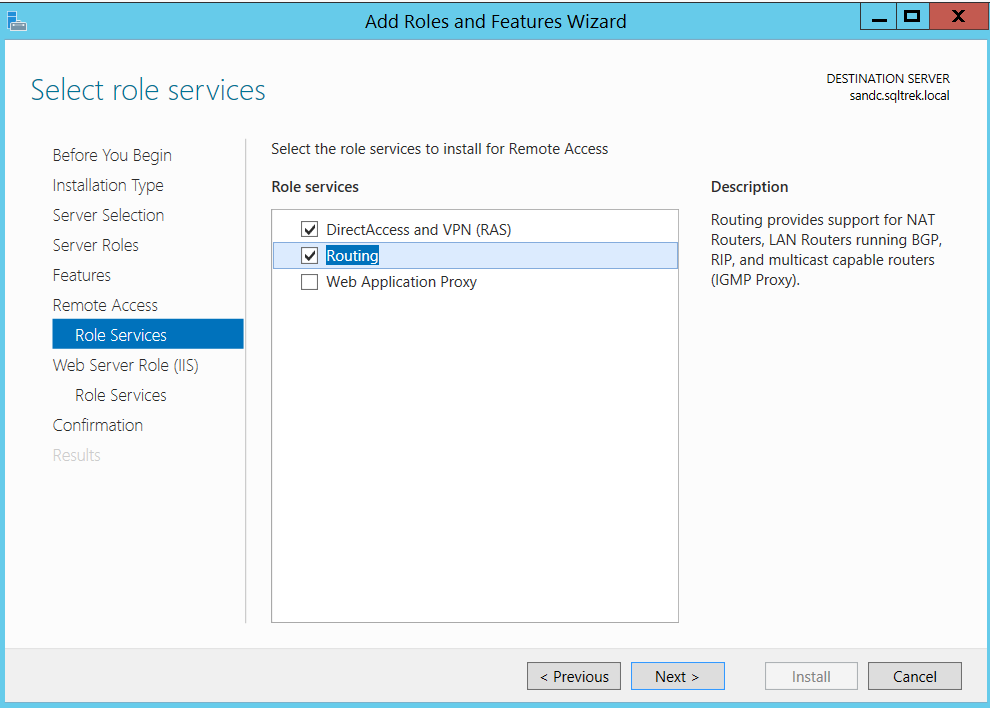 Add Roles and Features Wizard - Routing