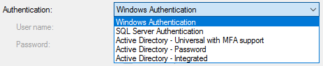 Authentication options with SQL Server.
