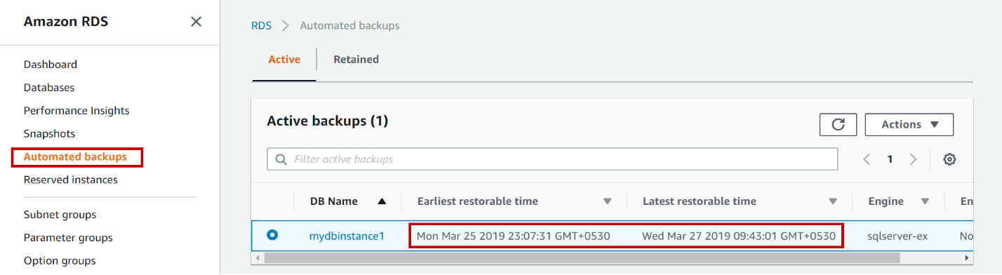 AWS RDS SQL Server  - Backups
