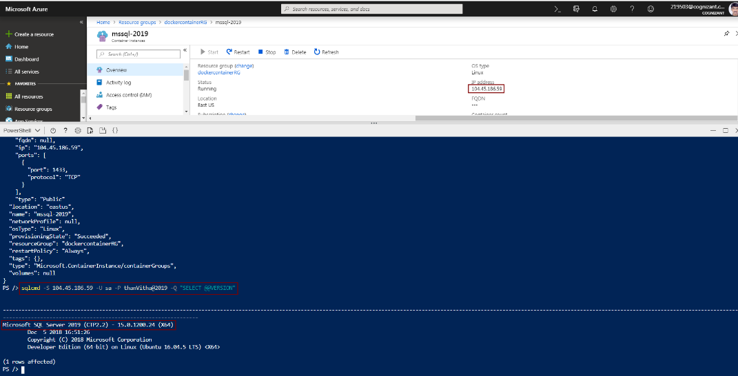 Provisioning SQL Server 2019 Azure Container Instance using