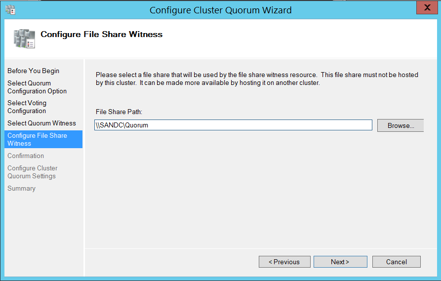 Configure cluser quorum wizard - configure file share witness