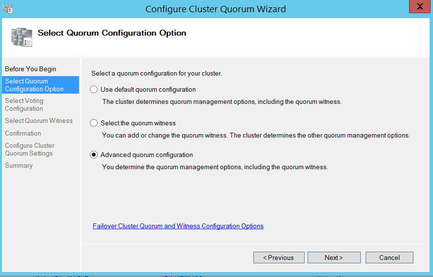 Configure cluser quorum wizard - Select quorum configuration options