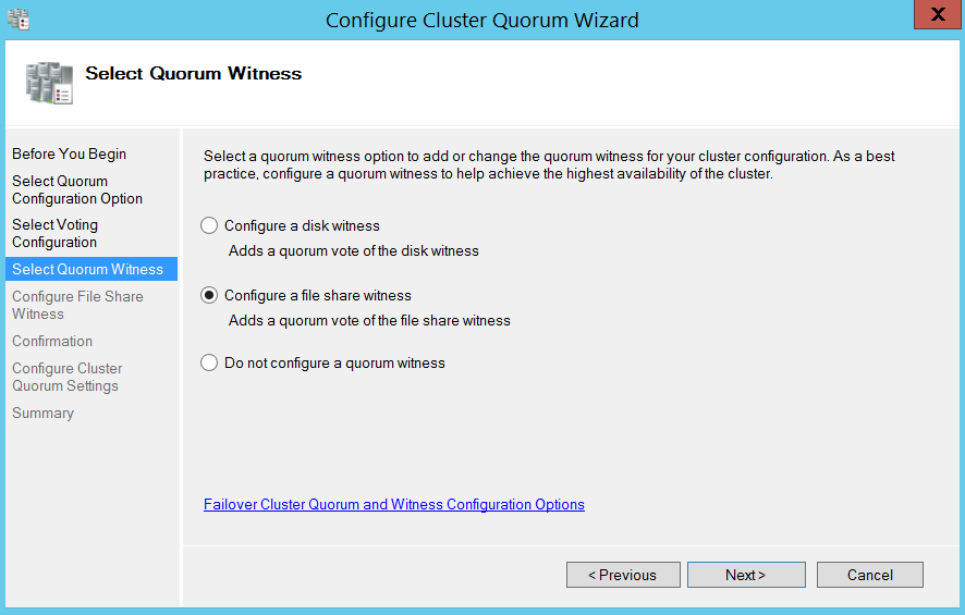 Configure cluser quorum wizard - select quorum witness
