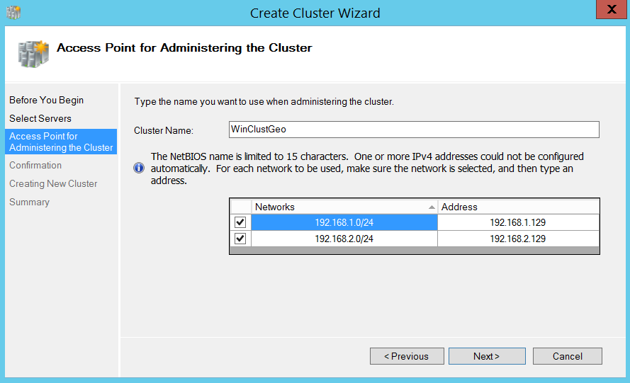 Create a cluster wizard - access point for administering the Cluster
