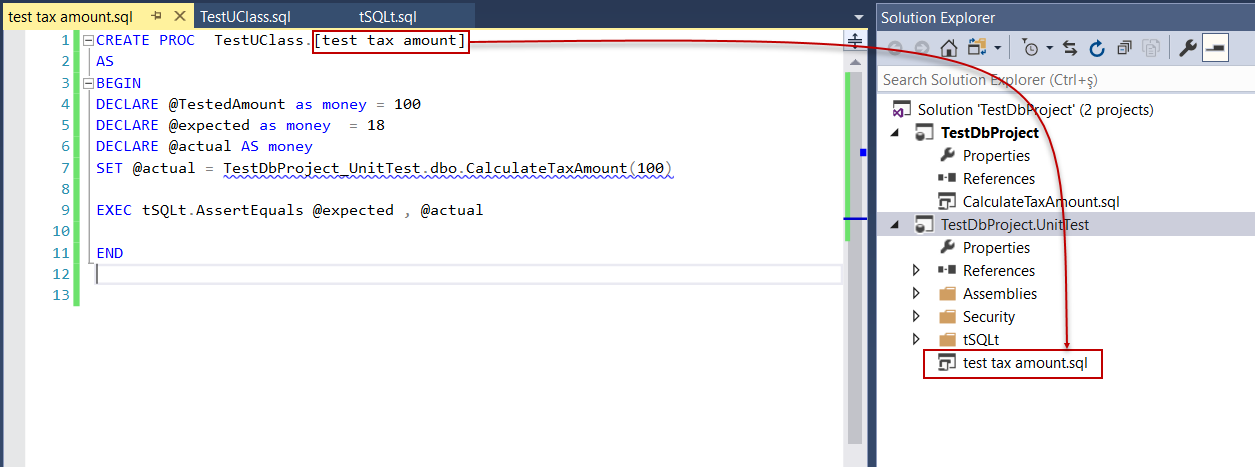 SQL developer unit testing - Create a new tSQLt unit test case in database project