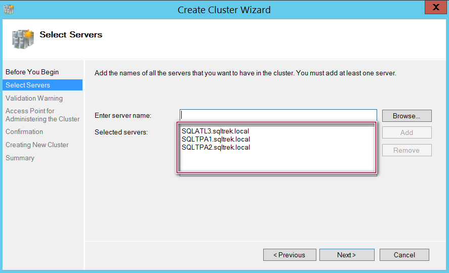 Create cluster wizard - select servers
