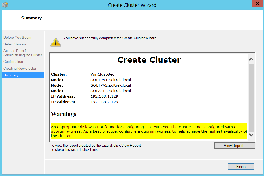 Create cluster wizard - summary