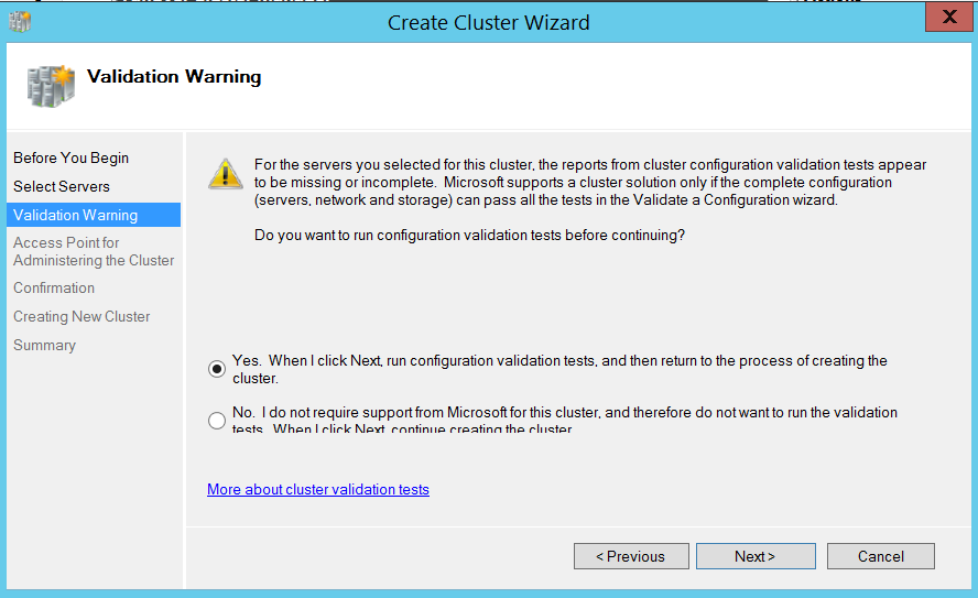 Create cluster wizard - validation warning